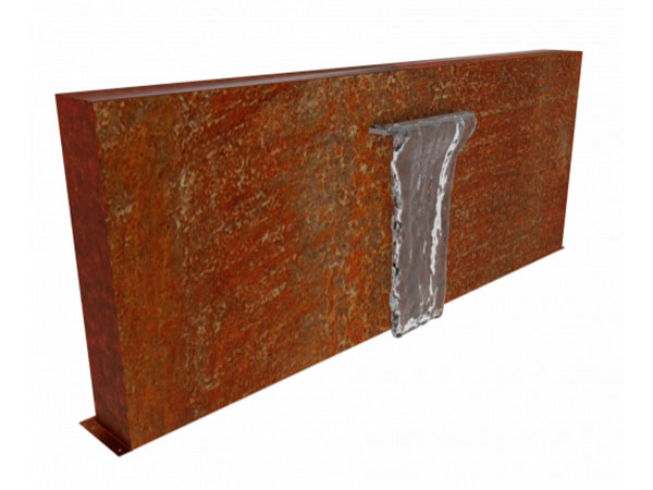 corten steel wall, casading water feature