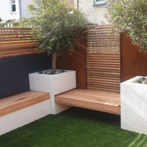 corten steel used in modern garden design