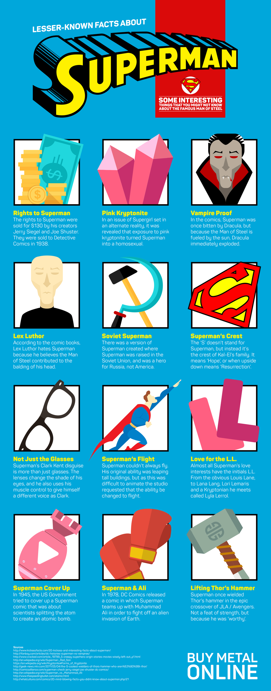 Infographic covering some interesting things you might not know about Superman, Man of Steel