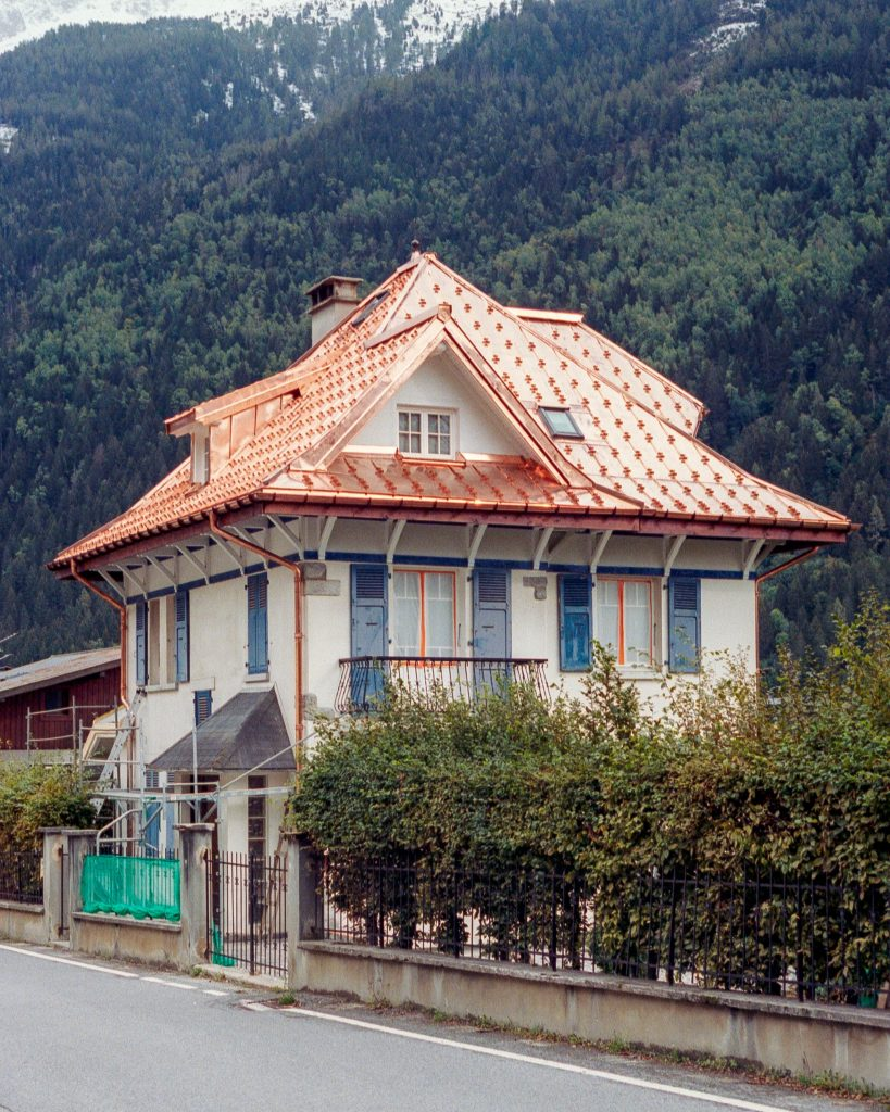 House with a new copper roof
